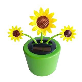 Homyl Modello Fiore Auto Arredamento Resistente Alimentazione Solare Giocattoli Bambina Plastica - Girasole