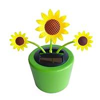 HOMYL Car Interior Display Decoration Car Dashboard Ornament Car Home Decor,Solar Powered Dancing Flower Insect Swinging Animated Bobble Dancer Toy - Sunflower