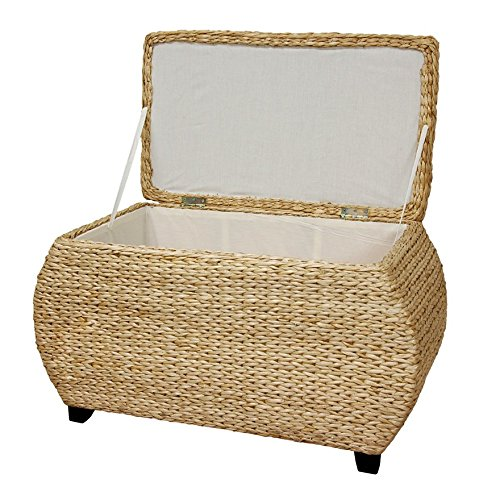 Natural Rush Grass Storage Box Seat Lift Top