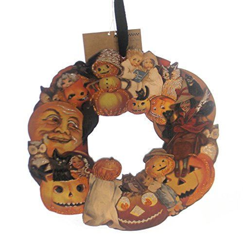 Halloween PUMPKIN WREATH SMALL Wood Primitive Cat Owl Witch Kids (Primitive Halloween Witch)