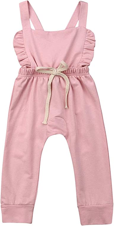 Toddler Girls Clothes Sleeveless Strap Romper Jumpsuit Outfit Dungaree Overalls