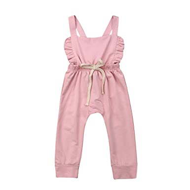 623f49508 Toddler Baby Girl Strap Jumpsuit Overalls Stripes Sleeveless Backless Romper  Playsuits Long Pants Summer Outfits (