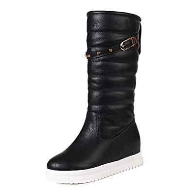 ca3fecd8fc48 GIY Women s Waterproof Mid Calf Winter Snow Boots Warm Fur Buckle Fashion Wide  Calf Cold Rain