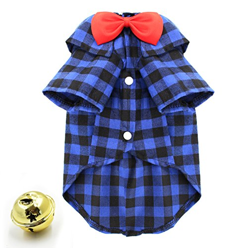 Plaid Bow Tie Pet Costumes (Fomei Cute Small Pet Dog Puppy Clothes ,Western Style Gentelpet Suit Shirt Bow Tie Puppy Costume Soft Casual Dog Plaid Shirt Gentle Dog Western Shirt Dog Clothes Dog Shirt Dog Wedding Tie (L))