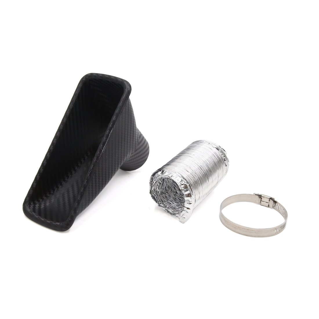 uxcell Carbon Fiber Pattern Rectangle Shaped Car Turbo Turbine Inlet Pipe Air funnel