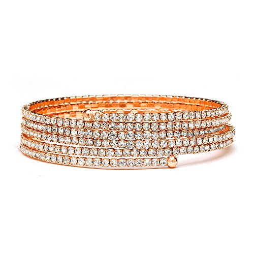 Style Rhinestone Bangle (Mariell Coil-Style Rose Gold Rhinestone 5-Row Adjustable Cuff Bangle Bracelet for Prom or Weddings)