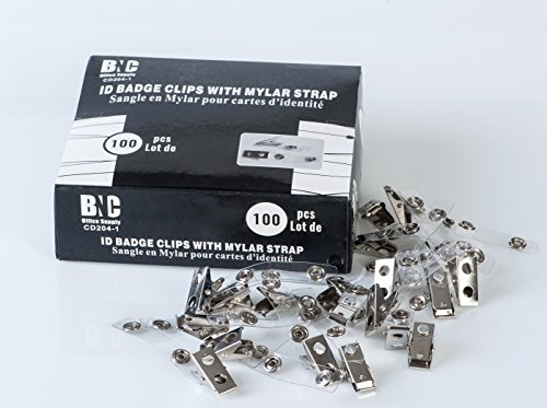 BNC ID Badge Clips with Mylar Strap Pack of 100