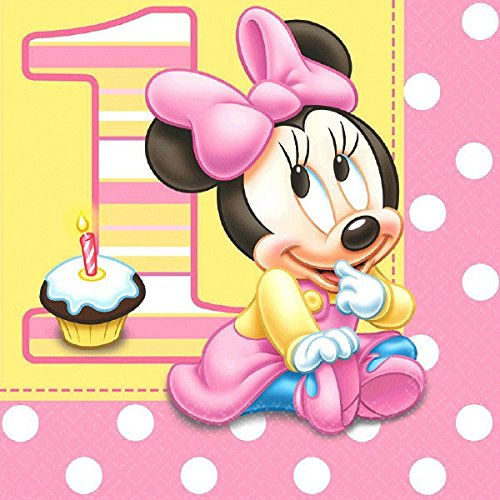16 Count Minnie's 1st Birthday Lunch Napkins, Pink 1st Birthday Lunch Napkins