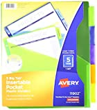 Avery Big Tab Insertable Plastic Dividers with Pockets, 5 Multicolor Tabs, Pack of 3 Sets (11902)