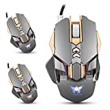 MOZEEDA Wired Gaming Mouse Mice Ergonomic Esports Gaming Mice 7 Buttons 3200 DPI 4 Adjustable Levels 1000Hz Return Rate Weight Tuning 4 Color Breathing LED Light