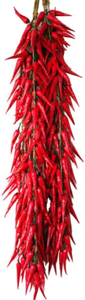 5 Bunch of Chili String Artificial Vegetables Food Faux Lifelike Plants Home Party Kitchen Decoration Hotel Store Display Model Photography Props Kids Pretend Play Toy (5PCS)
