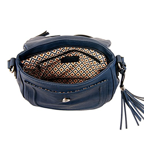Crossbody Susan with Flap Tassel Joy Zippered Bag Navy Sophia 6PEwqqTBx