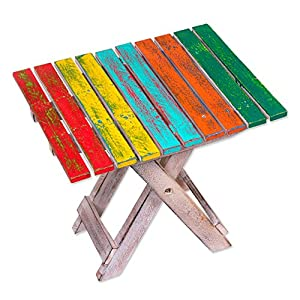 NOVICA Muticolor Hand Made Albesia Wood Folding Camping Table, 'Beach-Side Picnic'