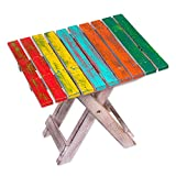 NOVICA Muticolor Hand Made Albesia Wood Folding Camping Table, 'Beach-Side Picnic'