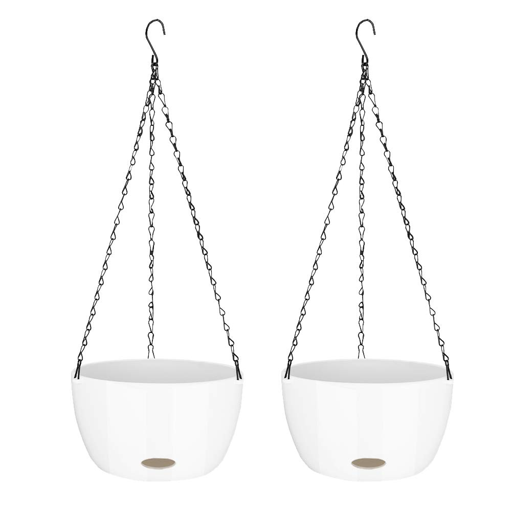 Sungmor Pack of 2 Self Watering Hanging Planter   Garden Flower Plant Hanger with Drainer and Chain-White   Hanging Flower Pots for Home Balcony   Indoor Outdoor Garden Decor
