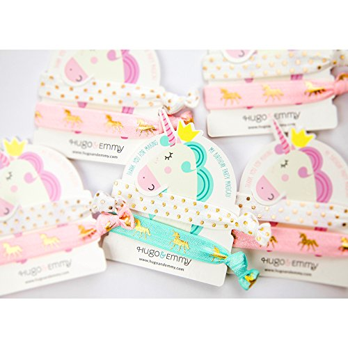 - Unicorn Hair Ties and Bracelet Party Favors - 8 Pack (16 pieces) - Girls Birthday Party - Premium Quality and Unique Design