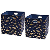 Posprica Large Storage Boxes - Foldable Storage Cubes Bin Box Containers for Home, Office, Nursery, Closet,Unique Gold Feathers Patterned,Navy-13''×13'',2pcs