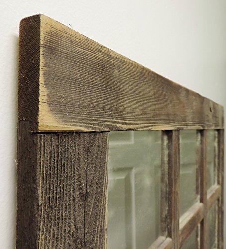 Rustic Barnwood Window Mirror 24 X 24 (9 pane) For Sale
