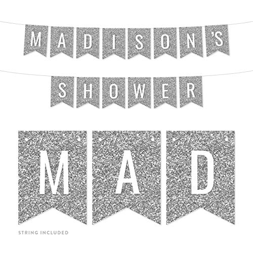Andaz Press Personalized Faux Silver Glitter Party Banner Decorations, Madison's Shower, Approx 5-Feet, 1-Set, Wedding Baby Bridal Shower Colored Hanging Pennant Decor, Custom (Images Madison Madison Single)