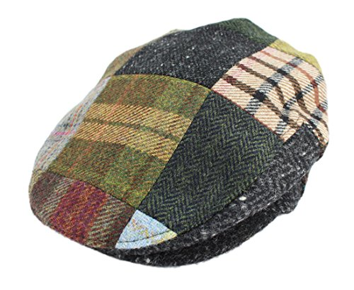 Irish Hats for Men John Hanly Men's Flat Irish Hat Patchwork 100% Wool Made in Ireland XL