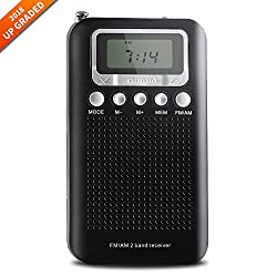AM FM Portable Transistor Radio,Pocket Radio with 3.5mm Headphone Jack,Battery Operated Portable Radio,Stereo Mode,Memory Mode and Sleep Timer (Black)