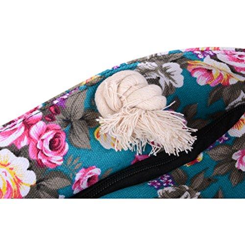 Colorful blue Rope Print Flower Beach Bag Shoulder with Bag Handbag Bag Shopping Handles Design Women Royal Canvas Women Zhhaijq Summer qBnOOYH