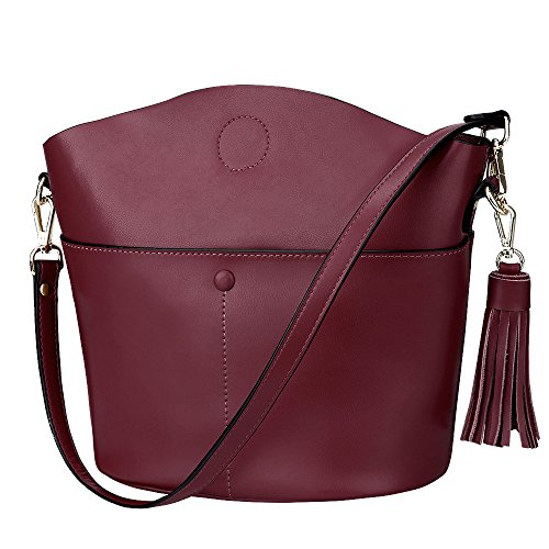 S-ZONE Women's Cowhide Genuine Leather Small Purse Handbag Crossbody Shoulder Bag Upgraded Version (Burgundy)