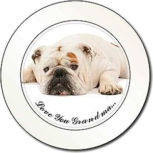 Bulldog 'Love You Grandma' Sentimiento Impuesto de matriculación disco regalo pe