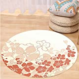 VROSELV Custom carpetHawaiian Decorations Hawaii Flowers Silhouette Tropical Plants Ornamental Floral Illustration Print Bedroom Living Room Dorm Decor Coral White Round 72 inches