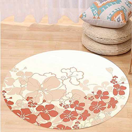 VROSELV Custom carpetHawaiian Decorations Hawaii Flowers Silhouette Tropical Plants Ornamental Floral Illustration Print Bedroom Living Room Dorm Decor Coral White Round 72 inches by VROSELV
