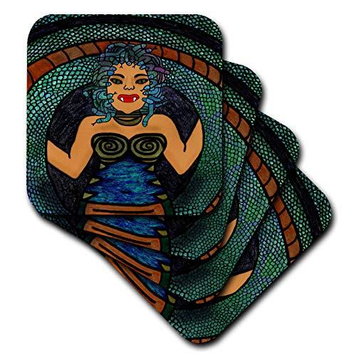 (3dRose BlakCircleGirl - Halloween - Medusa - The mythological medusa with a snake body and snakey hair - set of 8 Coasters - Soft)
