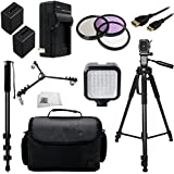 """Professional Accessory Package For Sony NEX-VG30H HD Professional HD Camcorders Includes 3 Piece Filter Kit (UV-CPL-FLD) + 2 Extended Life Replacement Batteries (NP-FV100) + AC/DC Rapid Home & Travel Charger + Mini HDMI Cable + 72"""" Tripod + Monopod + Tripod Dolly + Large Carrying Case + LED Video Light + Microfiber Cleaning Cloth"""