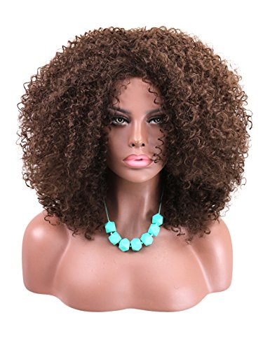 Search : Kalyss Big Bouncy African American Women's Wig Medium Long Afro Kinky Curly Synthetic Hair Wigs for Black Women (Medium Brown)