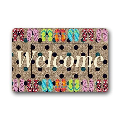 Our Iris Machine-washable Door Mat A Merry Halloween Decorative Doormat Indoor/Outdoor Doormat Non-woven Fabric Non Slip Gate Pad Rug 23.6(L) x 15.7(W) -