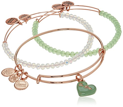Alex and Ani Sweet Rose Gold and Green Bangle Bracelet