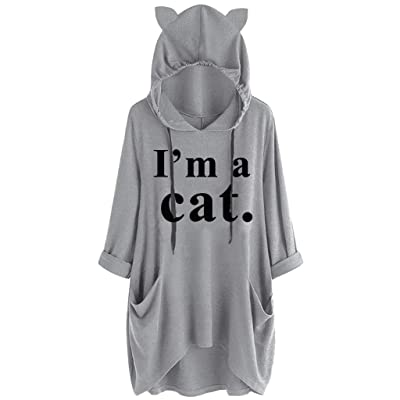 Sweatshirts for Women Casual 3/4 Sleeve I Am A Cat Letter Print Cat Ear Hoodie Sweatshirts with Pocket Koippimel at Women's Clothing store