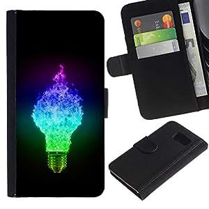 Paccase / Billetera de Cuero Caso del tirón Titular de la tarjeta Carcasa Funda para - Ligtbulb Colors Glow - Samsung Galaxy S6 SM-G920