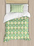 Ambesonne Floral Duvet Cover Set Twin Size, Floral Shaped Pastel Toned Ceramic Tile Style Ornate Arabian Mosaic Pattern, Decorative 2 Piece Bedding Set with 1 Pillow Sham, Khaki Turquoise