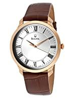 Bulova Men's 97A107 Brown/Silver Genuine Leather Watch
