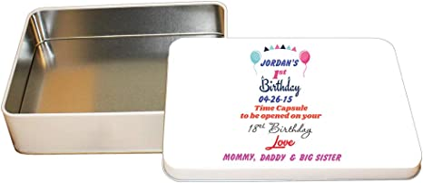 Personalised Keepsake Own Message Metal Memory Tin Box Birthday Gift Present
