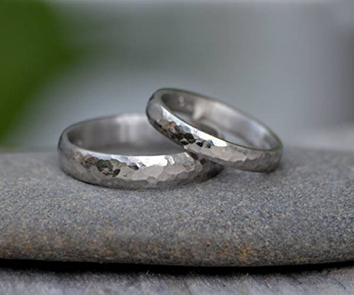 Platinum Wedding Band With Hammer Effect, Platinum Wedding Ring, 3mm Wide or 4mm Wide, Rustic Wedding Band -