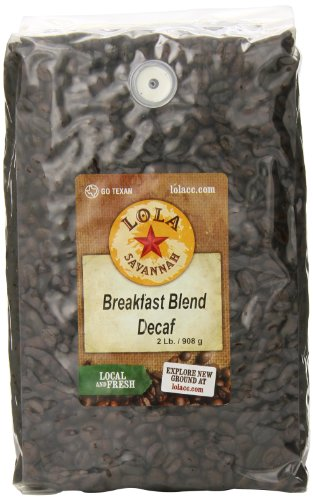 Lola Savannah Breakfast Blend Whole Bean Coffee - Start The Day With A Light Roast & Full Body Flavor | Decaf | 2lb Bag