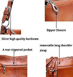 Heshe Womens Leather Handbags Vintage Shoulder Bags Top Handle Crossbody Bag Satchel Handbag and Purses for Ladies (Sorrel-NEW)