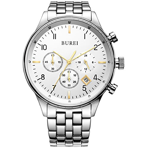 BUREI Men's Multifunction Chronograph Wrist Watch Stainless Steel Bracelet Sapphire Lens Fathe's Day Gifts (gold)