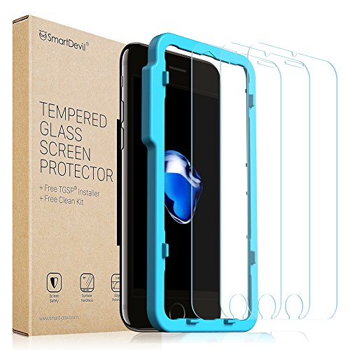 SmartDevil iPhone 8/7/6/6S Screen Protector, [3 pack]-[9H Hardness][Scrach Proof][Anti-fingerprint][Touch Sensitivity] 2.5D Edge Tempered Glass Screen Protector for Apple 8/7/6/6S (4.7 - Glasses Buying Guide