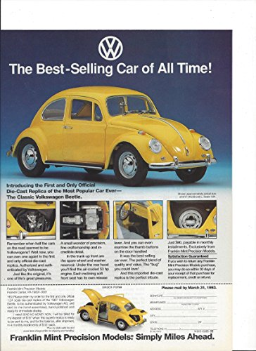 MAGAZINE ADVERTISEMENT For Franklin Mint Volkswagen Yellow Beetle Cars (Collectible Mint Franklin Cars)
