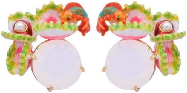 TYERY Pendientes Personalizados con Aretes para Mujer Pendientes de Perlas con Incrustaciones de Esmalte de Estilo Europeo Y Americano Tamaño: 2.2 * 2.2 cm