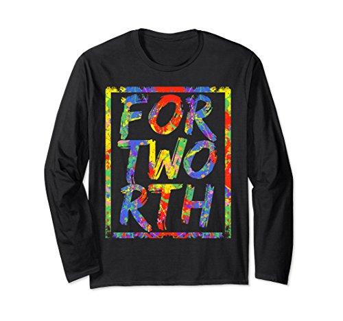 Unisex Fort Worth Texas Vintage Paint Splash Long Sleeve Shirt Large - Worth In University Fort