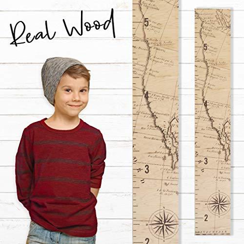 Growth Chart Art | Wooden Map Growth Chart for Kids [Boys & Girls] - Children's Room Décor Height Chart | West Coast Map -