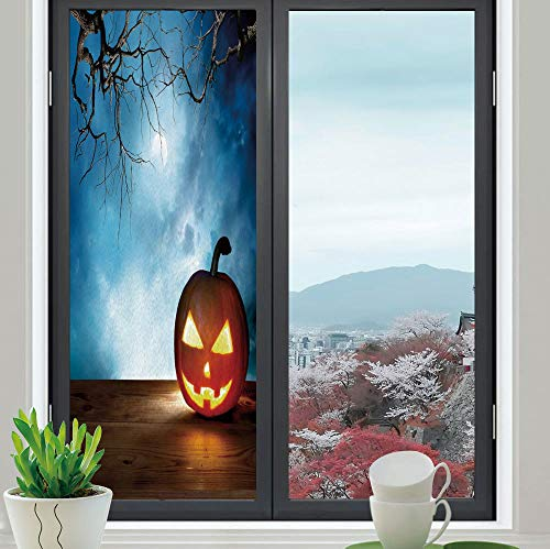 YOLIYANA Privacy Frosted Decorative Vinyl Decal Window Film,Halloween,for Bathroom, Kitchen, Home, Easy to Install,Traditional Celebration Icon Pumpkin on Wooden Board Fantasy,24''x70'' -